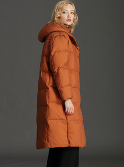 Plus Size Hooded Button-down Long Puffer Coat