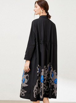 Plus Size Long Sleeve Printed Midi Shirt Dress