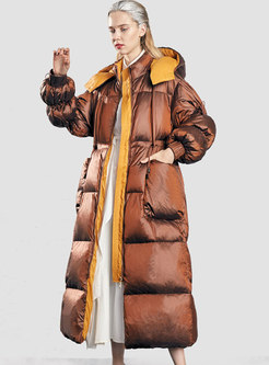 Hooded Drawstring Thicken Long Puffer Coat