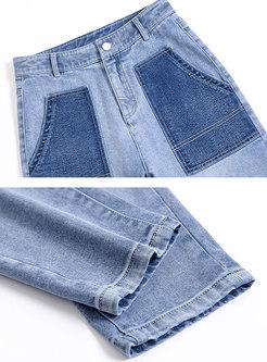 High Waisted Denim Harem Pants