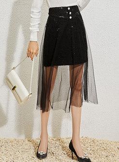 High Waisted Mesh Sequin Midi Skirt