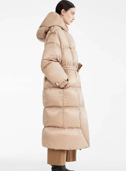 Hooded Single-breasted Thicken Long Puffer Coat
