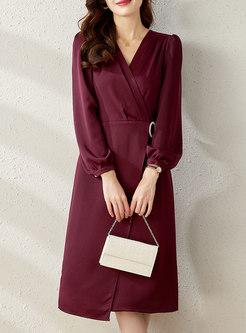 V-neck Long Sleeve Diamante Wrap Midi Cocktail Dress