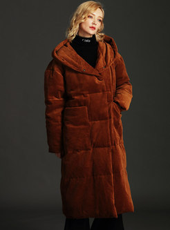 Hooded Thicken Corduroy Long Puffer Coat