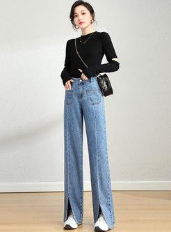 High Waisted Split Wide Leg Jeans