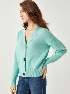 V-neck Long Sleeve Cardigan Sweater
