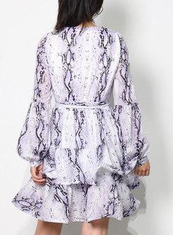 Boho V-neck Long Sleeve Printed Short Wrap Dress
