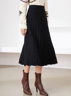 High Waisted A Line Pleated Long Knit Skirt
