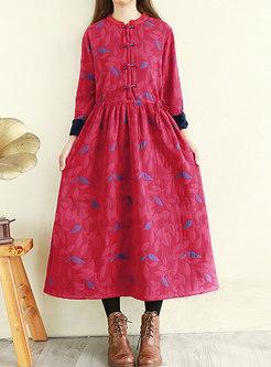 Mock Neck Long Sleeve Linen Thicken Long Dress