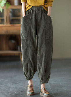 Retro High Waisted Corduroy Harem Pants