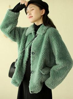 Faux Suede Single-breasted Fleece Teddy Coat