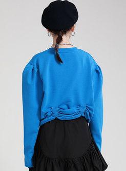 Crew Neck Pullover Ruched Short Sweatshirt
