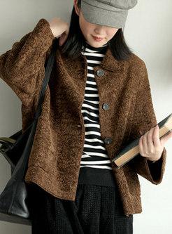 Faux Fleece Button-down Short Loose Jacket