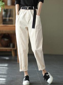 Casual High Waisted Harem Chino Pants