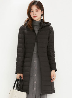 Removable Hooded Mid-length Lightweight Puffer Coat