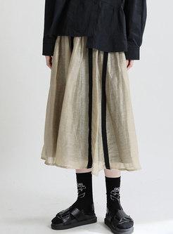 High Waisted Striped A Line Maxi Skirt
