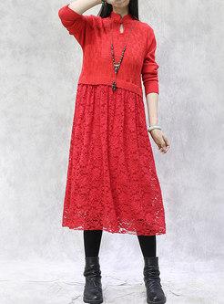Mandarin Collar Lace Patchwork Midi Sweater Dress