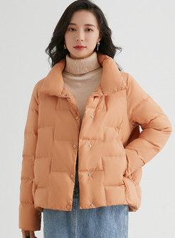 Mock Neck Single-breasted Lightweight Puffer Jacket