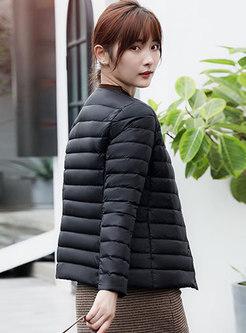 Plus Size Crew Neck Lightweight Puffer Coat