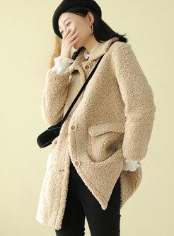 Faux Suede Flap Pockets Button-down Fleece Coat
