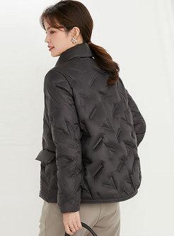 Mock Neck Flap Pockets Lightweight Puffer Coat