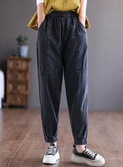Plus Size High Waisted Baggy Harem Jeans