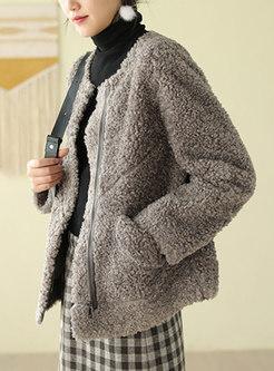 Crew Neck Faux Suede Loose Fleece Coat