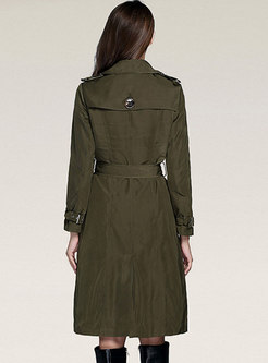 Casual Double-breasted Belted Mid-length Trench Coat