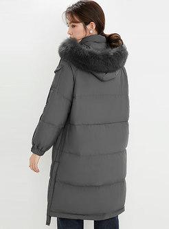 Faux Fur Hooded Flap Pockets Mid-length Puffer Coat
