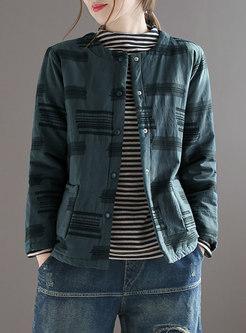 Button-down Jacquard Linen Cropped Coat