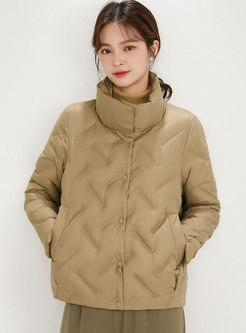 Mock Neck Short Single-breasted Quilted Down Jacket