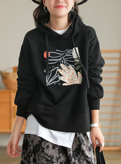 Casual Printed Long Sleeve Pullover Cotton Hoodie