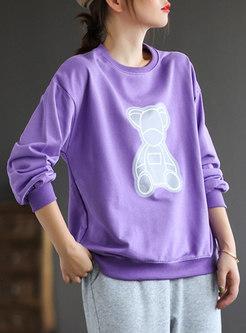 Crew Neck Long Sleeve Bear Pullover Sweatshirt