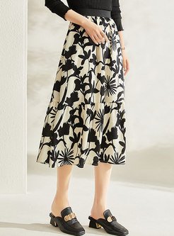 High Waisted Printed A Line Maxi Skirt