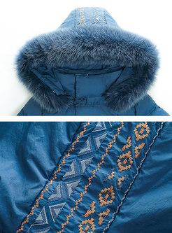 Hooded Embroidered Tie-waist Thicken Coat