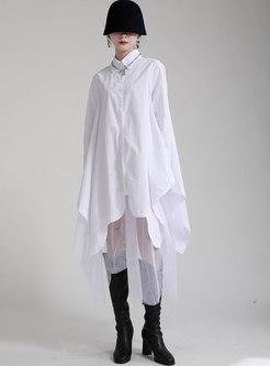 Long Sleeve Mesh Patchwork Shift Midi Dress