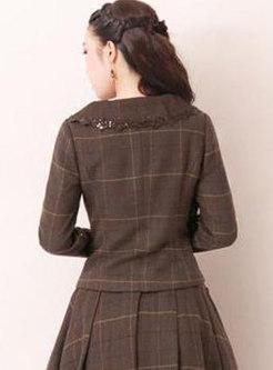 Plaid Long Sleeve Wool Blend Short Coats