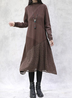 Turtleneck Long Sleeve Plus Size Sweater Dress