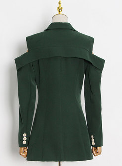 Cold Shoulder Button-down Slim Blazer
