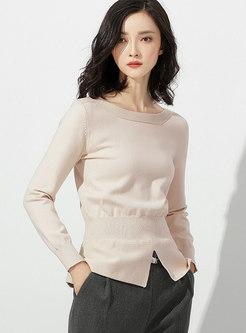 Crew Neck Long Sleeve Pullover Split Sweater