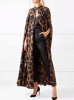 Plus Size Mock Neck Leopard Long Trench Coat