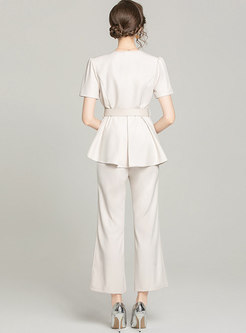 Work Double-breasted Belted Blouse & Baggy Flare Pants