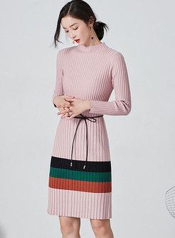 Mock Neck Long Sleeve Ribbed Sweater Dress