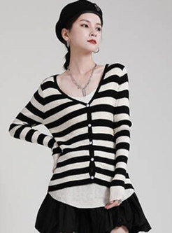 Single-breasted Striped Long Sleeve Cardigan