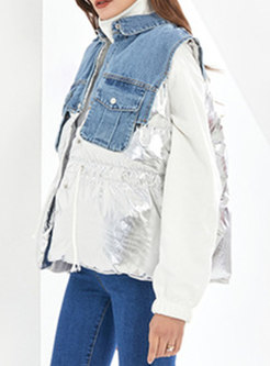 Fringed Loose Button-down Denim Jacket