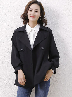 Notched Collar Double-breasted Straight Trench Coat
