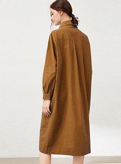 Plus Size Button-down Midi Shirt Dress