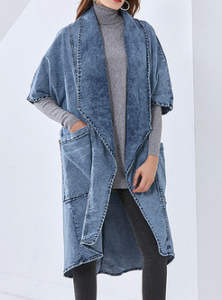 Half Sleeve Plus Size Mid-length Denim Coat