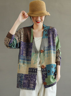 V-neck Printed Loose Cardigan Sweater