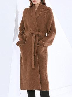 V-neck Loose Mid-length Wrap Cardigan Coat
